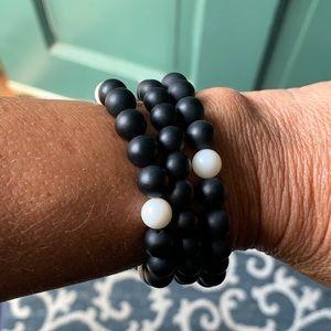 Black and white onyx bead bracelets